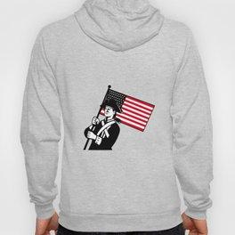 American Patriot Holding Flag Retro Hoody