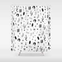 tattoos Shower Curtains featuring Flash Tattoos by Hamburger Hands