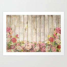 Vintage Rustic Romantic Roses Wooden Plank Art Print