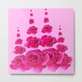 PINK SURREAL TOWERS OF  FUCHSIA PINK ROSES Metal Print
