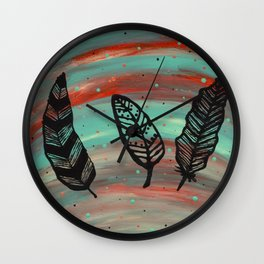 Dots and Feathers Wall Clock