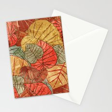 Leaves in Rosy Background 4 Stationery Cards