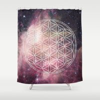sacred geometry Shower Curtains featuring Sacred Geometry Universe 3 by Gaudy