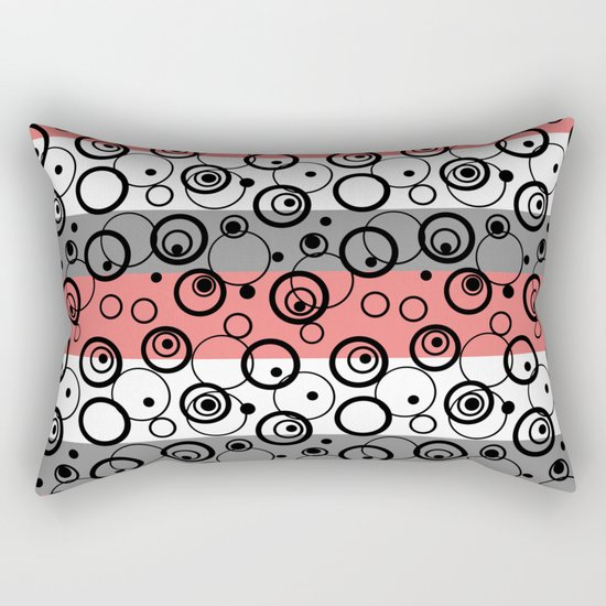 Circles and rings on striped background . Salmon , black , white , grey Rectangular Pillow