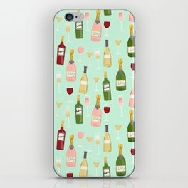 Rose drinks champagne wine bar art food fight apparel and gifts mint iPhone Skin