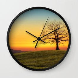 Lonely Tree On Hillside At Sunset Ultra HD Wall Clock
