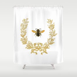 French Bee acorn wreath Shower Curtain