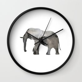 Black Watercolor Elephant Wall Clock