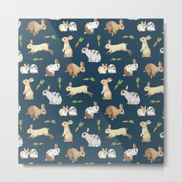 Rabbits on navy background Metal Print