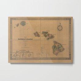 Vintage Map of Hawaii (1876) Metal Print