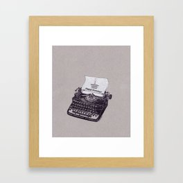 Typewriter Art: Happy Birthday Cupcake Framed Art Print