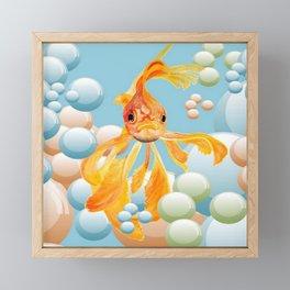 Vermillion Goldfish Blowing Bubbles Framed Mini Art Print