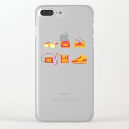 I Love the 80s - Bedroom Items - Sneakers Sunglasses Walkman Video Game Clear iPhone Case