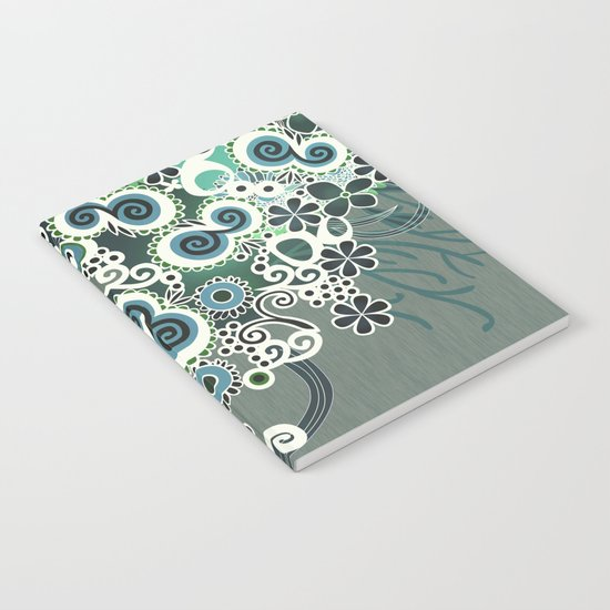 Diagonal flower – blue and green fiber Notebook