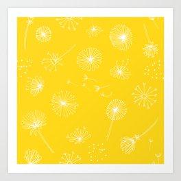 Yellow Dandelion Pattern Art Print