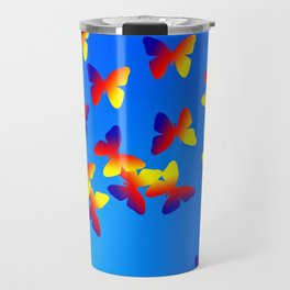 Bright Butterfly Fountain on Blue Travel Mug