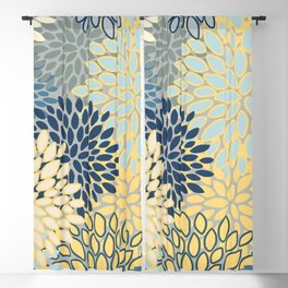 Floral Print, Yellow, Gray, Blue, Teal Blackout Curtain
