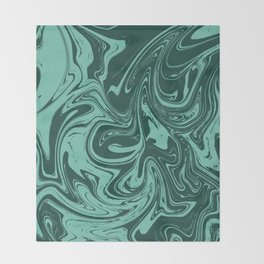 Forest green and Spearmint Marble pattern Throw Blanket