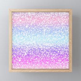 Faux Glitter Pastel Rainbow Gradient  Framed Mini Art Print