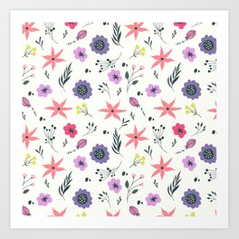 Abstract coral purple violet vector floral pattern Art Print