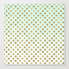 Mint Ombre Gold Dots Canvas Print
