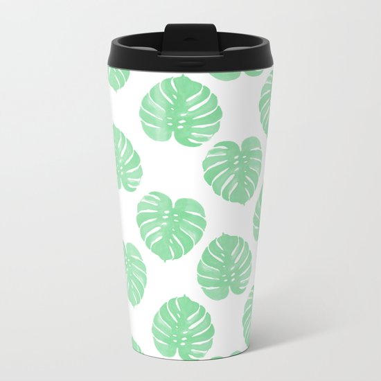 Palm Leaf indoor house plant hipster cheese plant palm leaf tropical vibes Metal Travel Mug