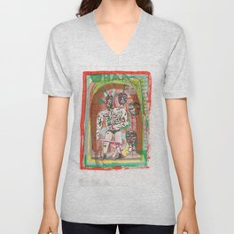 Haa wrestling man with horns and swords Unisex V-Neck