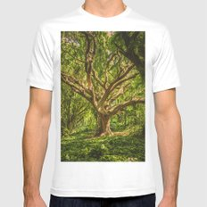 Twerl Tree II MEDIUM White Mens Fitted Tee