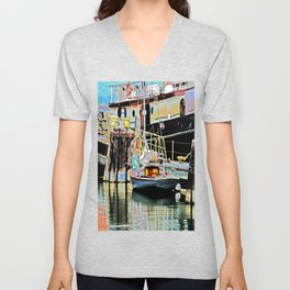 A Harbor view of Coos Bay Unisex V-Neck