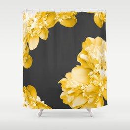 Yellow Flowers On A Dark Background #decor #society #homedecor Shower Curtain