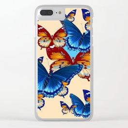 #2 MODERN ART DECORATIVE BLUE-BROWN  BUTTERFLIES Clear iPhone Case