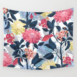 Watercolor Farmhouse Flowers Wall Tapestry
