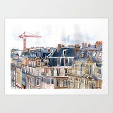 Roofs of Paris Art Print