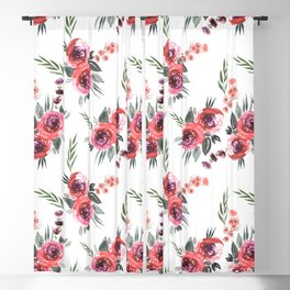Bouquets Pattern Red Blackout Curtain
