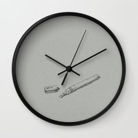 pen Wall Clocks featuring Pen by dennis field