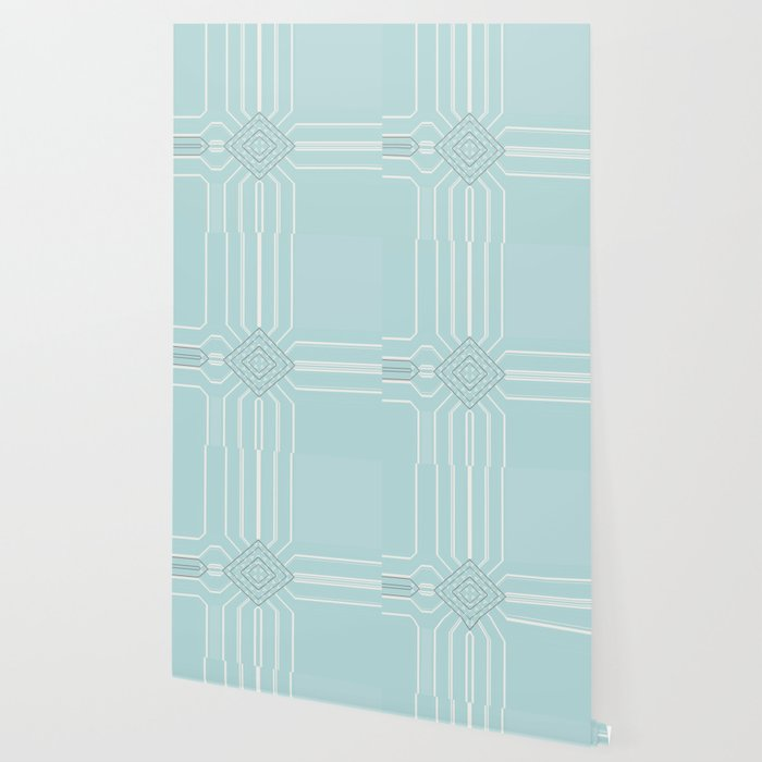 Soft Teal Abstract Minimalist Design Wallpaper By