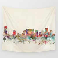 tennessee Wall Tapestries featuring city nashville tennessee by bri.buckley