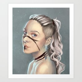 Woman with face paint Art Print