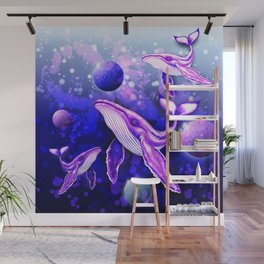 Cyber Whale on Ultra Violet Deep Space Ocean Wall Mural