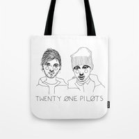 tyler spangler Tote Bags featuring Josh/Tyler by ☿ cactei ☿
