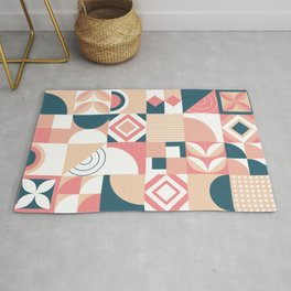 Cute retro geometric shapes hand drawn pastel background illustration pattern Rug