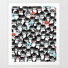 Quirky Penguin winter wonderland arctic animals Art Print