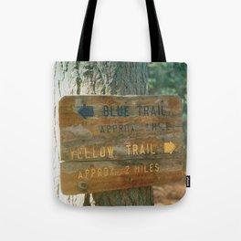 Blue Trail, Yellow Trail Tote Bag