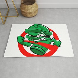 Cartoon Green trash can Rug