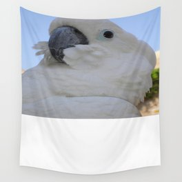 Ruffled Feathers Of A Blue Eyed Cockatoo Wall Tapestry