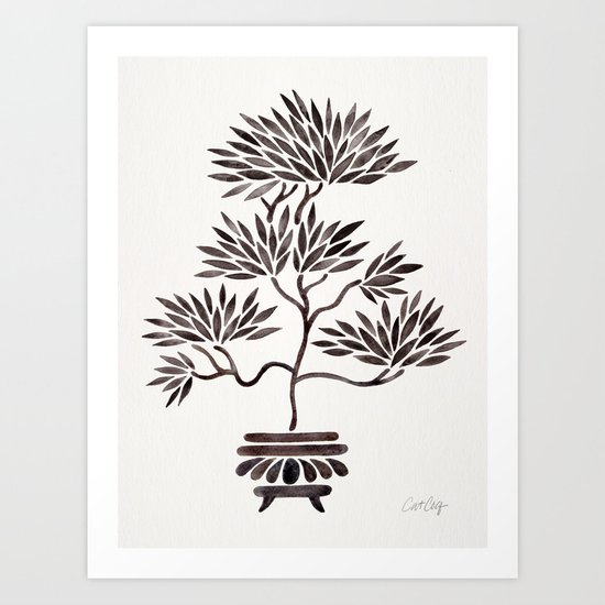 Bonsai Tree – Black Palette Art Print