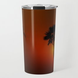 The Red Tropical Sunset (Color) Travel Mug
