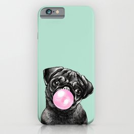 Bubble Gum Black Pug in Green iPhone Case