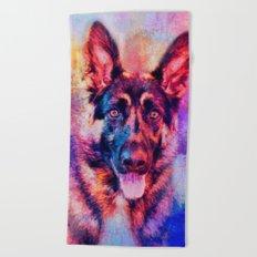 Jazzy German Shepherd Colorful Dog Art by Jai Johnson Beach Towel