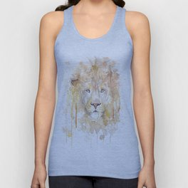 """Watercolor Painting of Picture """"African Lion"""" Unisex Tank Top"""